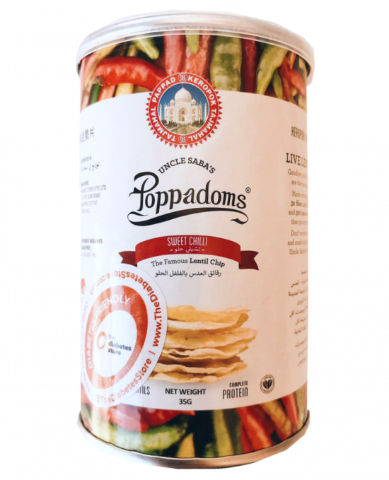 Uncle Saba's Poppadoms Sweet Chilli Flavor 35G
