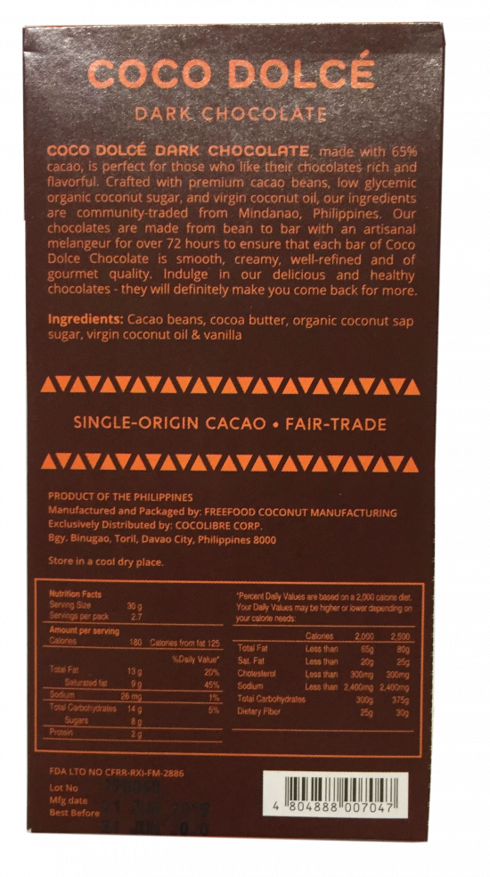 Coco Dolce Dark Chocolate 65% 80g