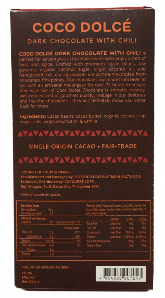 Coco Dolce Dark Chocolate with Chili 80g