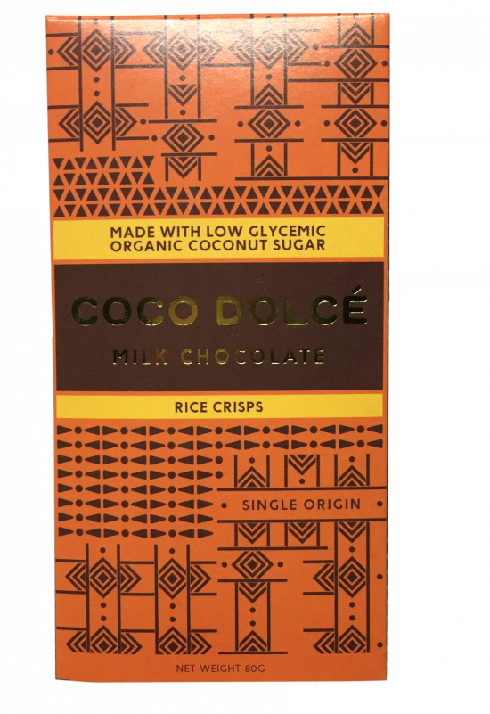 Coco Dolce Milk Chocolate with Rice Crisps 80g