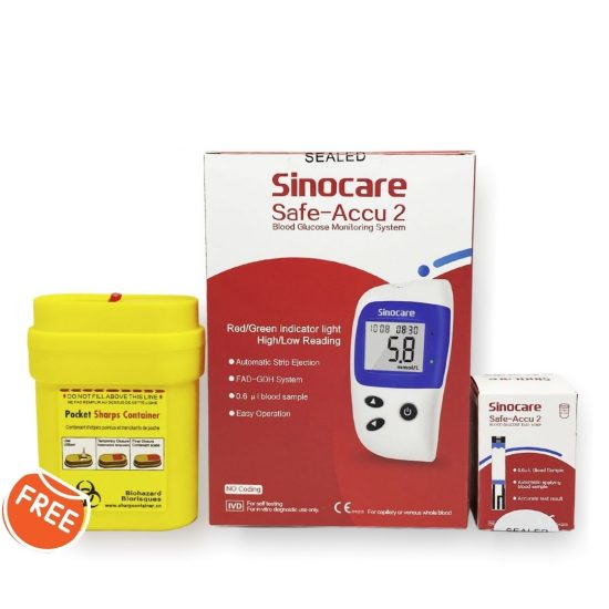 Sinocare Safe-Accu 2 Glucose Meter Kit (25 strips and 25 lancets) with FREE Sharps Collector